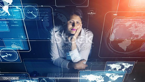 875503222 istock photo Business and technology concept. Communication network. 1204743645
