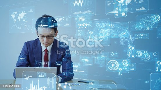 875512438 istock photo Business and technology concept. Global communication network. 1193851936