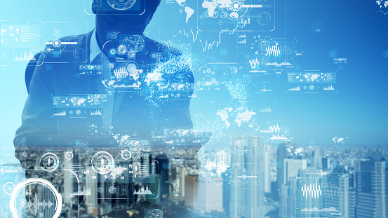1054574034 istock photo Business and technology concept. Graphical User Interface. 1154371757