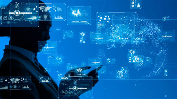 Business and technology concept. Graphical user interface. stock photo