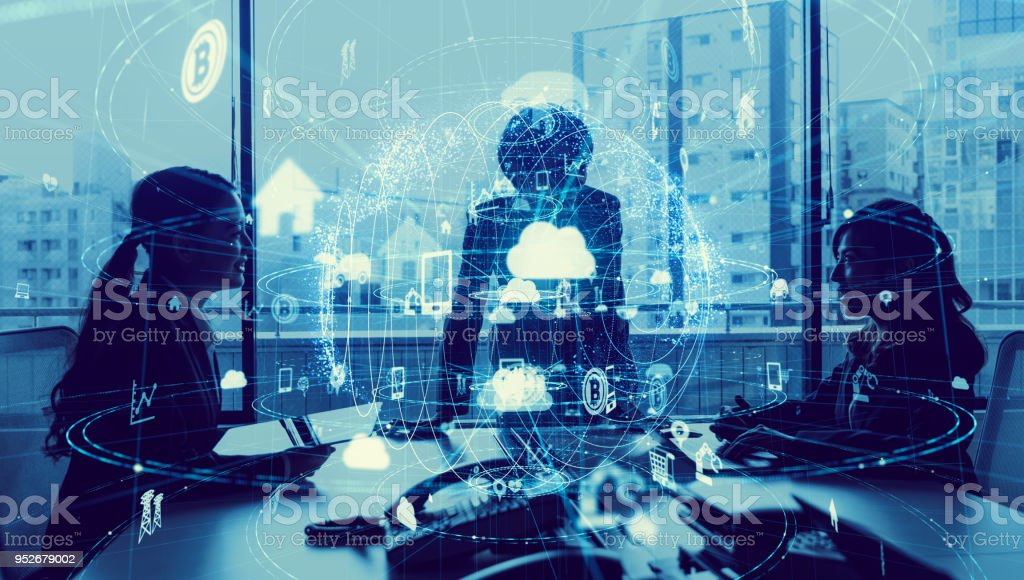 Business and technology concept. Internet of Things(IoT). Information Communication Technology(ICT). Aritificial Intelligence(AI). stock photo