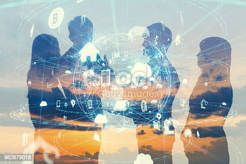 1019164310istockphoto Business and technology concept. Internet of Things(IoT). Information Communication Network(ICT). Artificial Intelligence(AI). 952679018