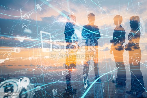 1019164310istockphoto Business and technology concept. Internet of Things(IoT). Information Communication Network(ICT). Artificial Intelligence(AI). 952679028