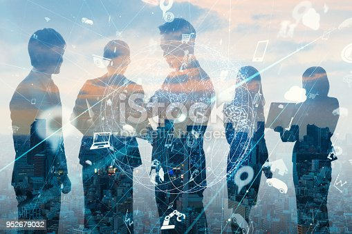 1019164310istockphoto Business and technology concept. Internet of Things(IoT). Information Communication Network(ICT). Artificial Intelligence(AI). 952679032