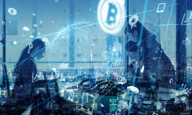 ビジネスとテクノロジーのコンセプトです。Things(IoT) のインターネット。情報通信 Technology(ICT)。人工的 Intelligence(AI)。 ストックフォト