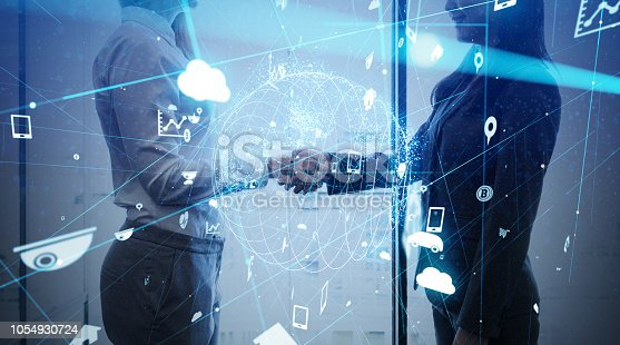 istock Business and technology concept. 1054930724