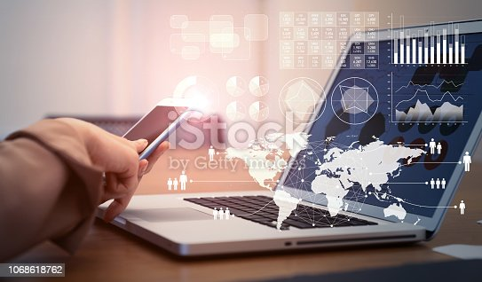 istock Business and technology concept. 1068618762