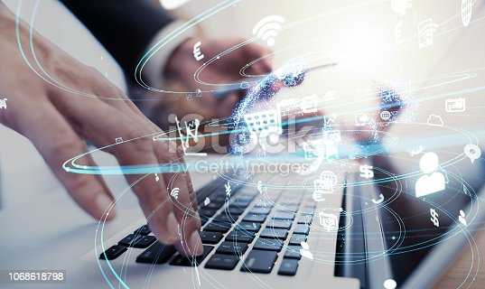 istock Business and technology concept. 1068618798