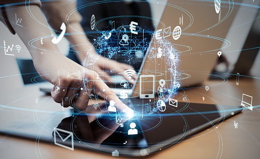 istock Business and technology concept. 1068618802