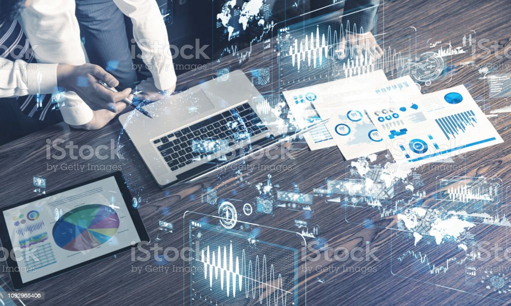 Business and technology concept. Business and technology concept. Abstract Stock Photo