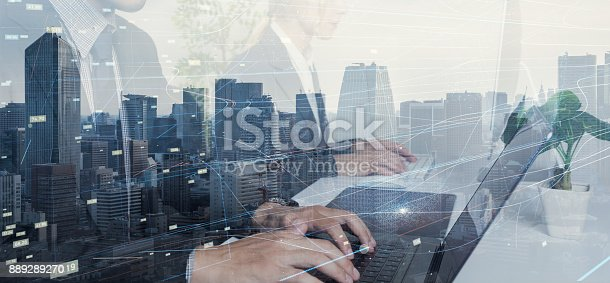 istock Business and technology concept. 889289270