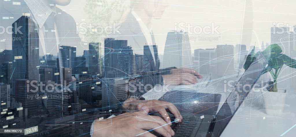 Business and technology concept. stock photo