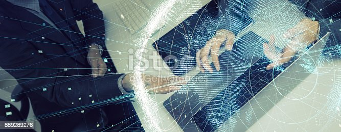 istock Business and technology concept. 889289276