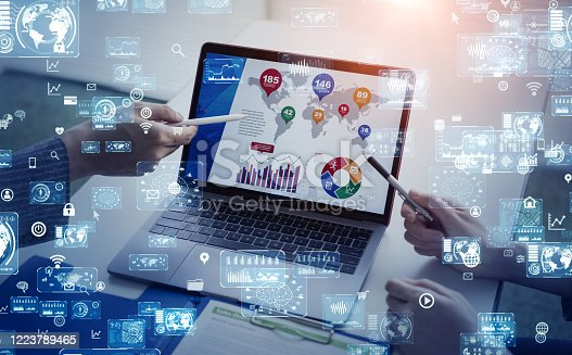 875503222 istock photo Business and technology concept. Smart office. GUI (Graphical User Interface). 1223789465