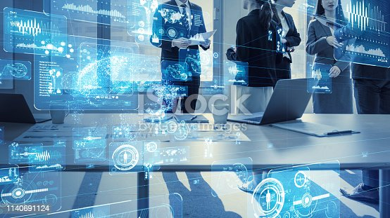 istock Business and technology concept. Smart office. 1140691124