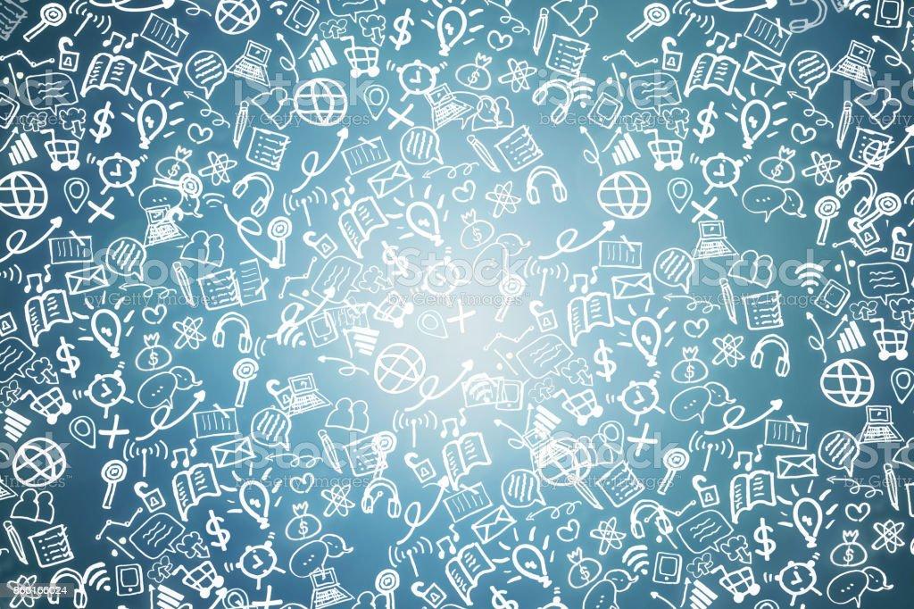 Wirtschaft und Technologie, soziale Netzwerk-Doodle-Symbol – Foto