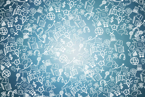 business and technology, social network doodle icon - doodle stock photos and pictures