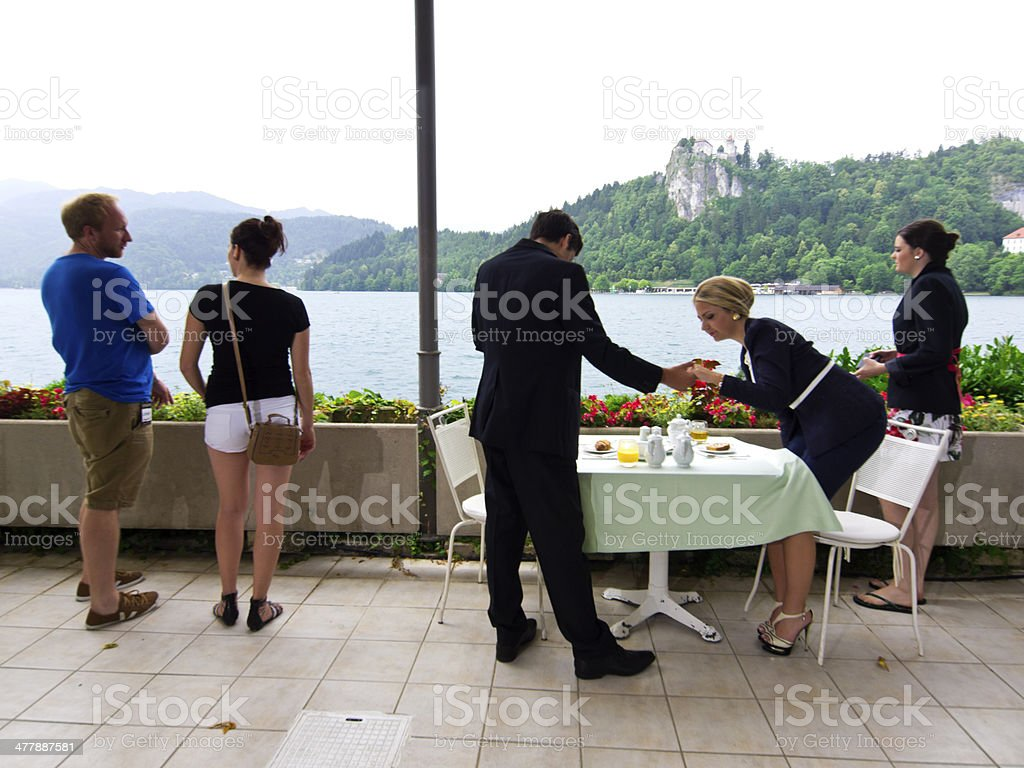 Business and tourists royalty-free stock photo