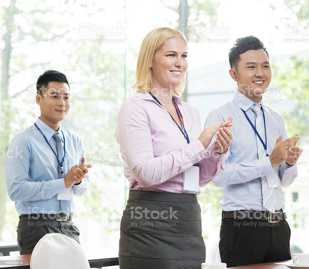 Business applauding royalty-free stock photo