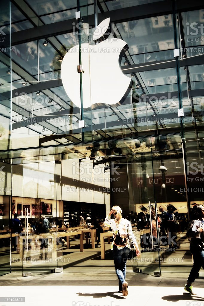 Business:  Apple store front in Santa Monica, California. stock photo
