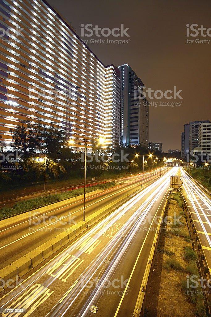 business area of hongkong at night royalty-free stock photo