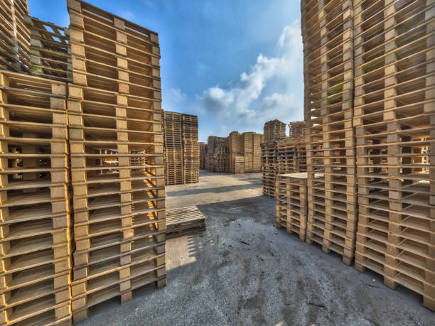 Business area with huge piles of euro cargo pallets stock photo