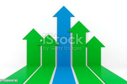 Business arrow graph, 3D Rendering