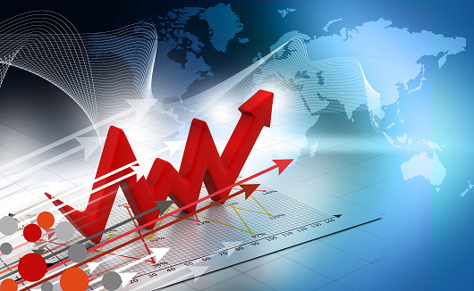 istock Business Arrow Graph background 886542326