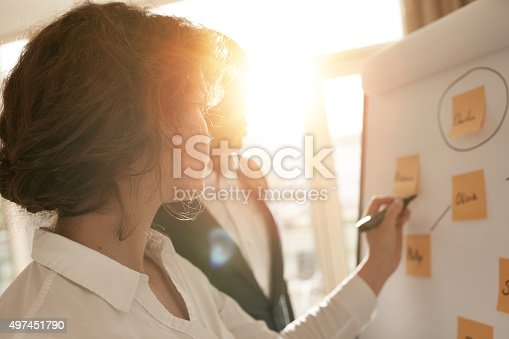 istock Business associates putting their ideas on flipchart 497451790