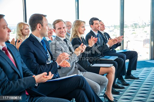 istock Business audience applaud at training 1171569614