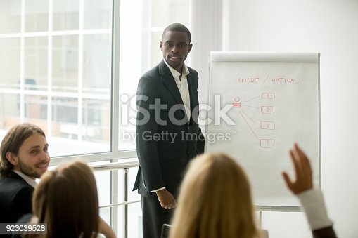 istock Business audience asking african presenter speaker questions at corporate training 923039528
