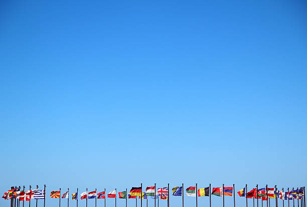 Business Backgrounds international flags and sun in the blue sky national flag stock pictures, royalty-free photos & images