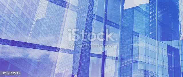 business banner background, innovation technology, blue buildings