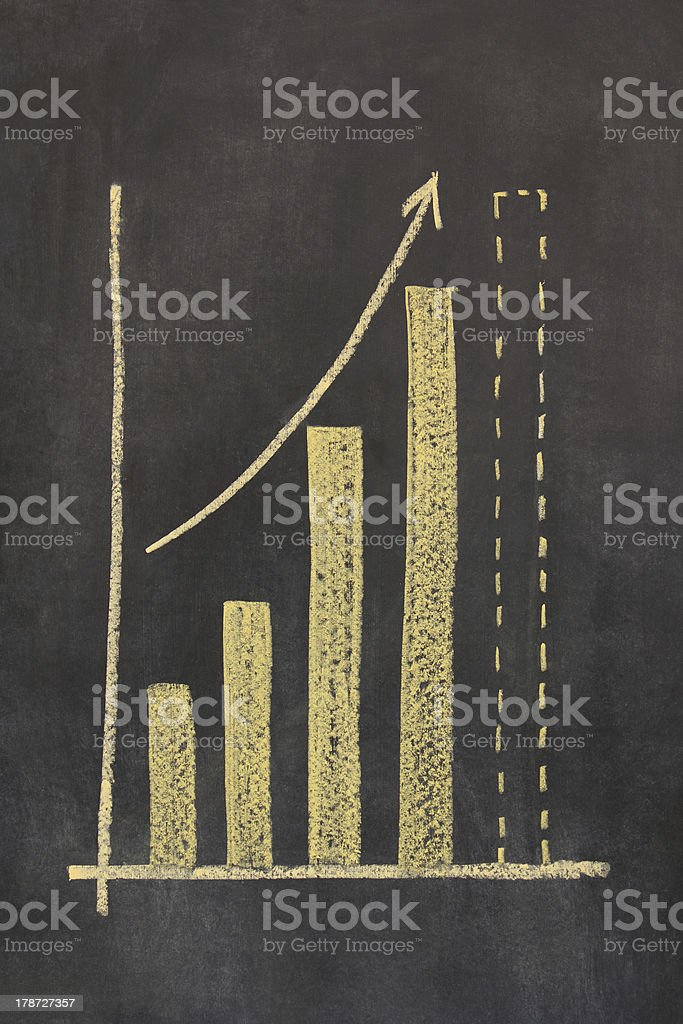business bar chart on a chalkboard royalty-free stock photo