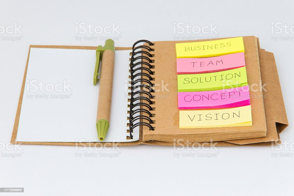 Business Basic Concept Word on Note paper stock photo