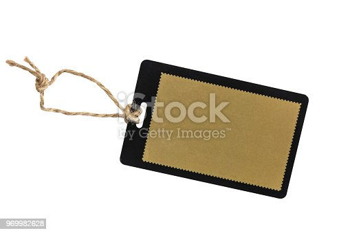 Blank tag isolated on white background.