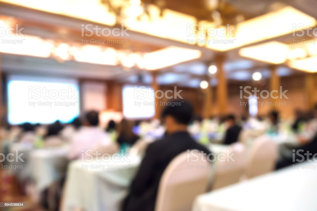 Business blurred background. Seminar and conference in convention hall. stock photo