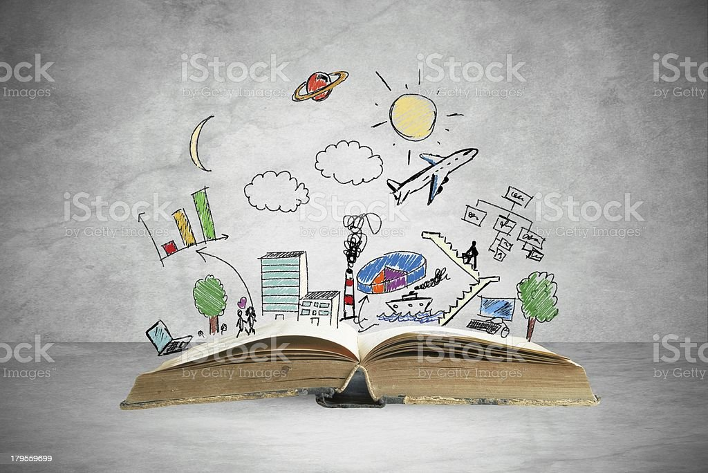 Business book Book with modern business sketch and symbol Aspirations Stock Photo