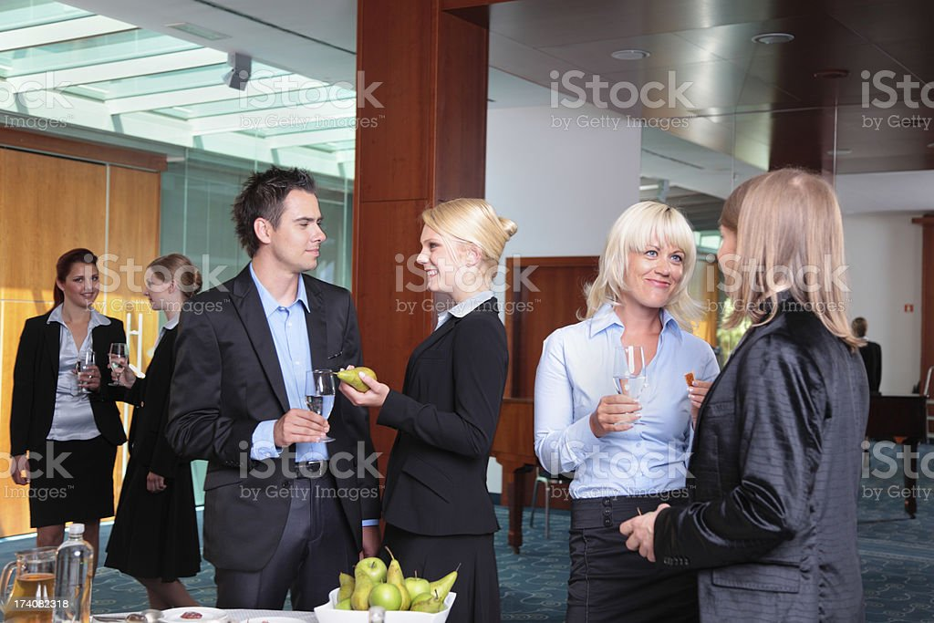 business buffet lunch for young professionals in modern office  building stock photo