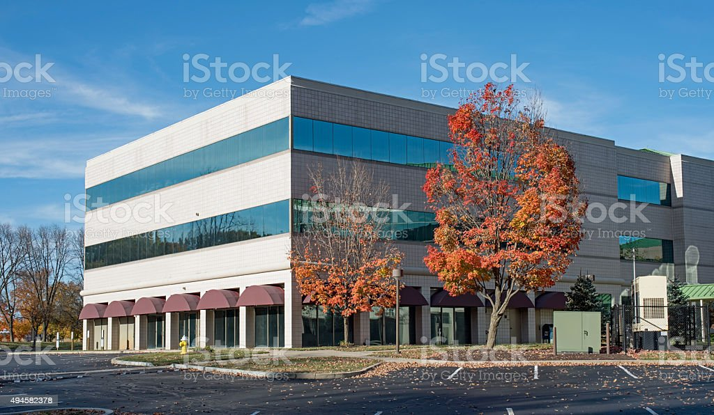 Business Building in Late Afternoon Autumn Sun stock photo
