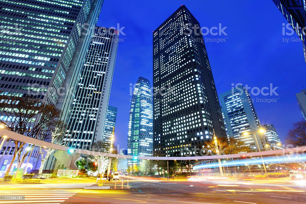 Business building in Tokyo at night royalty-free stock photo