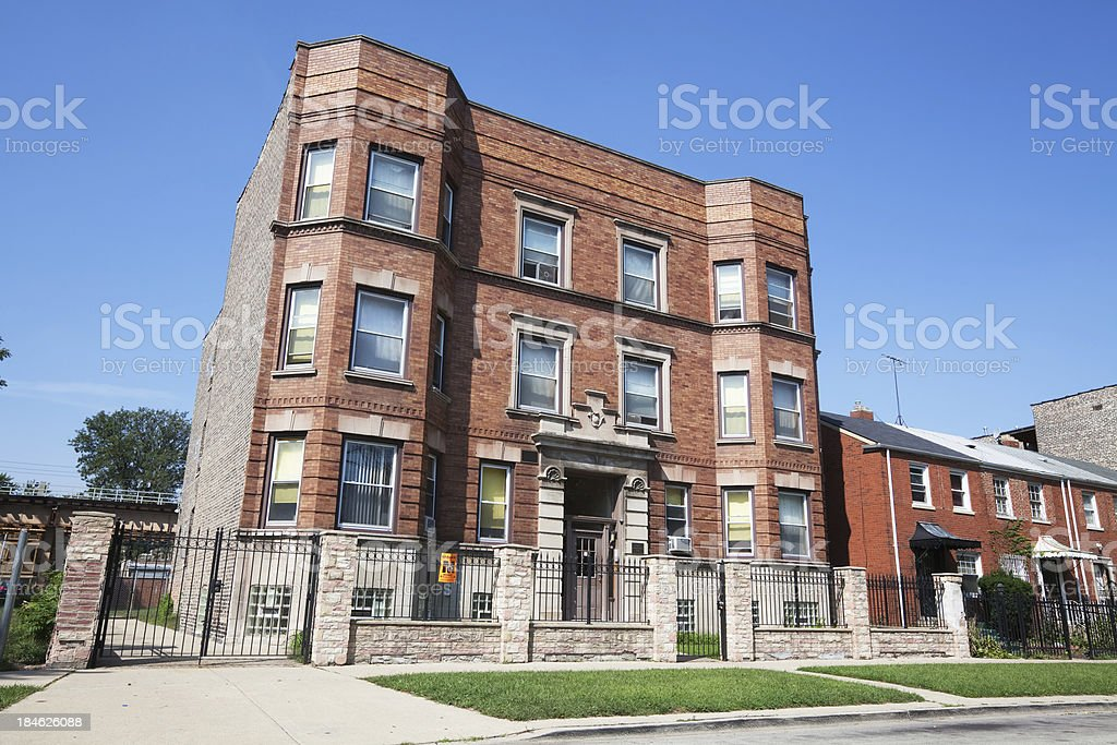 Business building in Washington Park, Chicago royalty-free stock photo