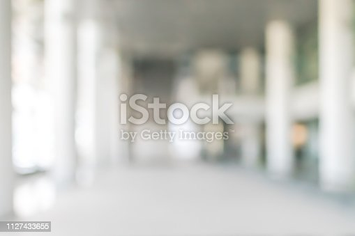 990877026 istock photo Business building, university or hospital blur background office lobby hall and corridor interior view of white room with blurry light from corridor glass window wall 1127433655