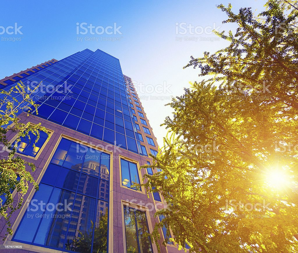 Business Buildings at Sunset royalty-free stock photo