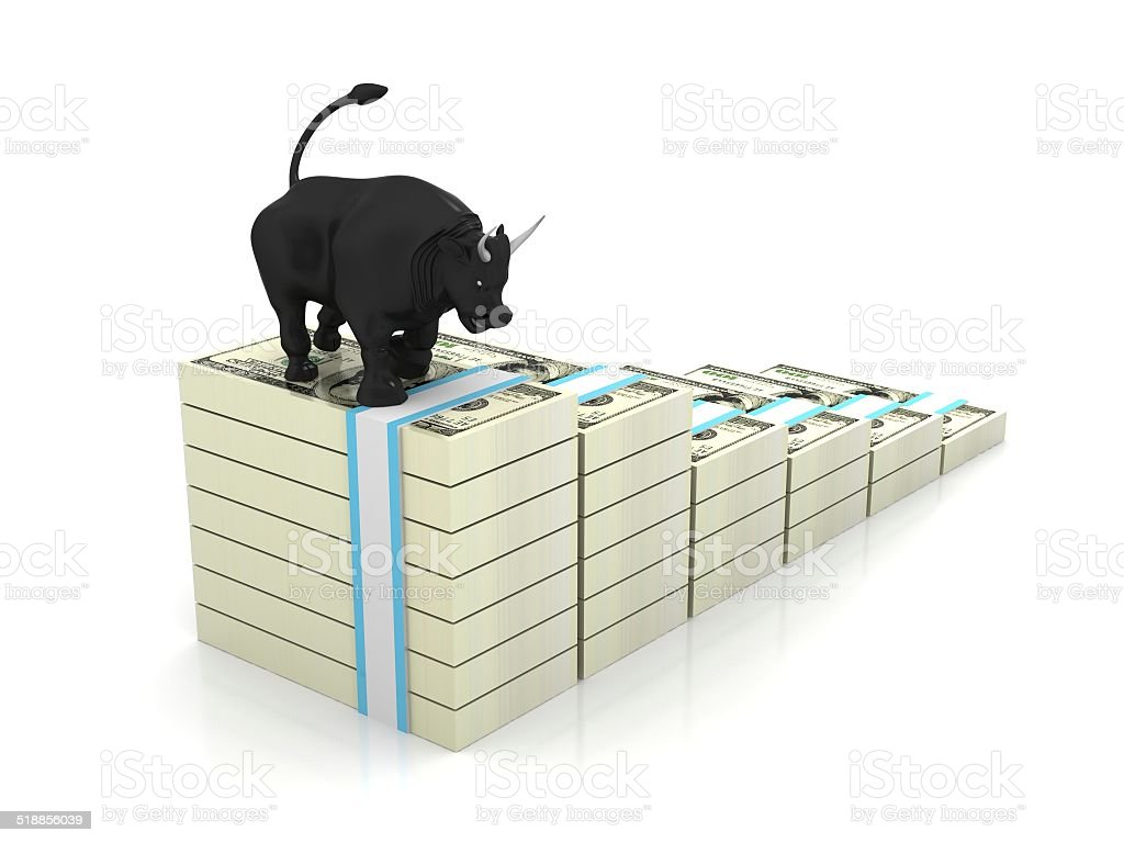 Business bull and money GROWTH stock photo