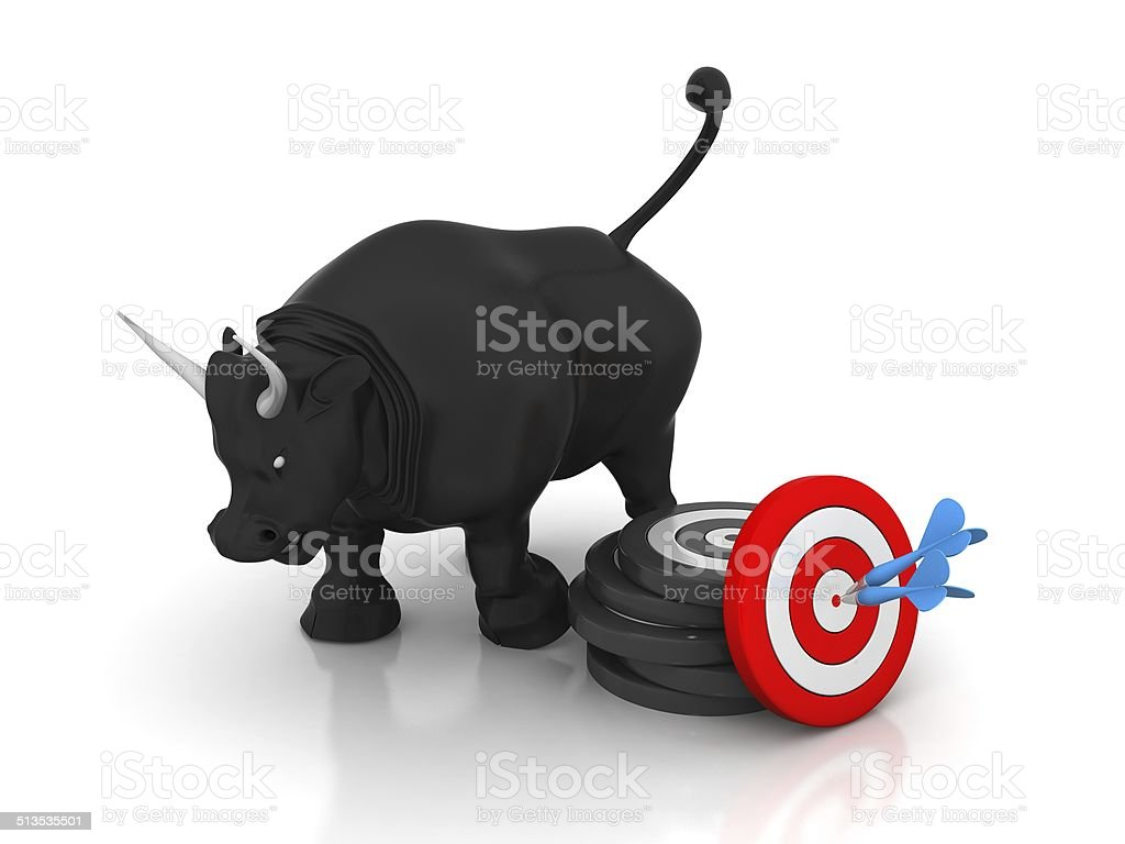 Business Bull And Target stock photo