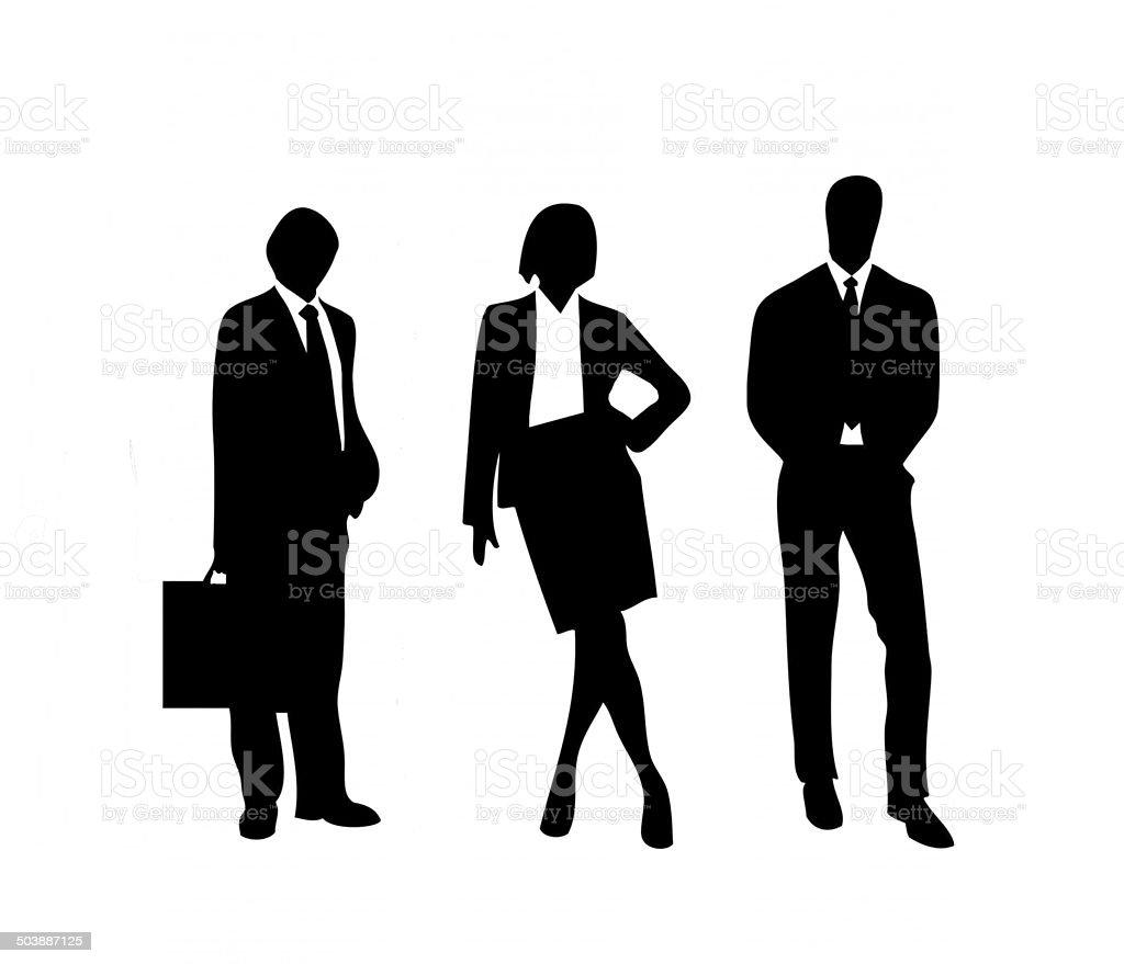 Business, businessmen, silhouettes, three figures, black, white background. stock photo