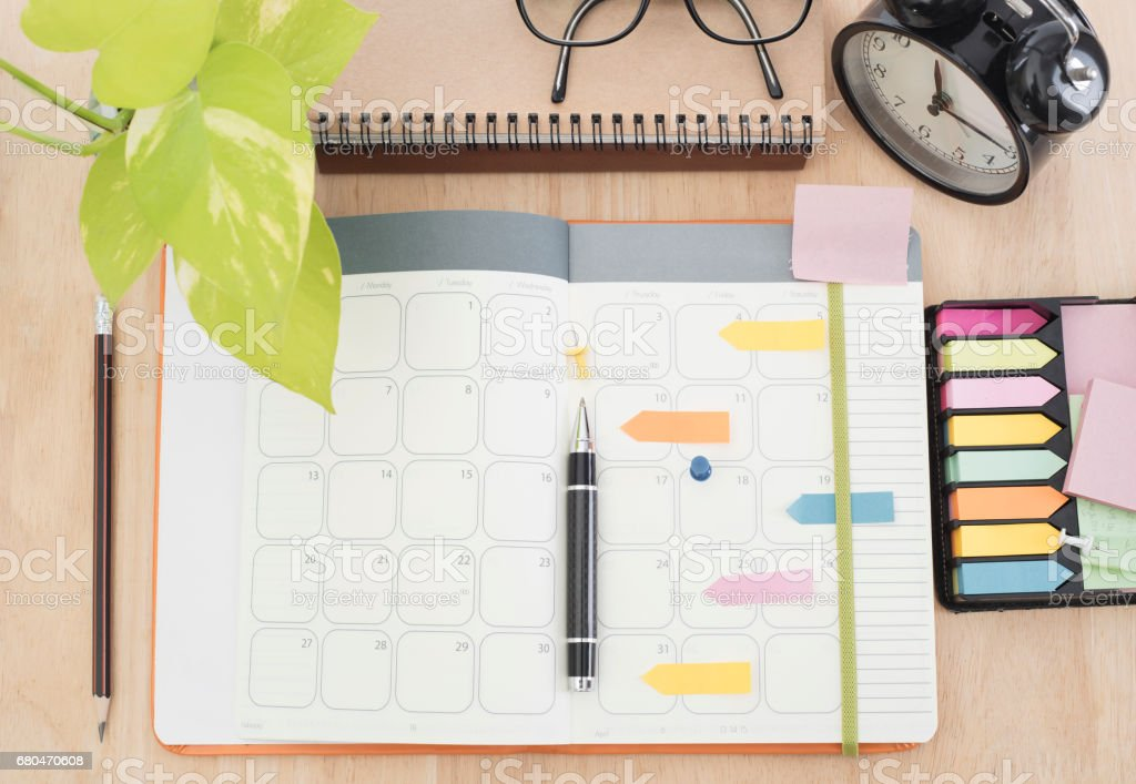 business Calender Planner meeting 2017 on desk office. organization management remind concept. stock photo