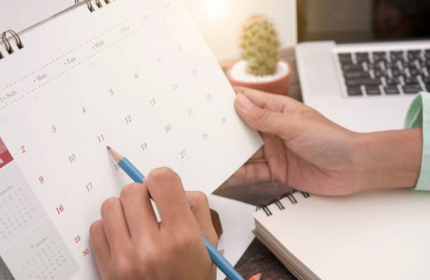 Business-Kalender Planer-Meeting am Schreibtisch Büro. Organisationsverwaltung erinnern Konzept. – Foto
