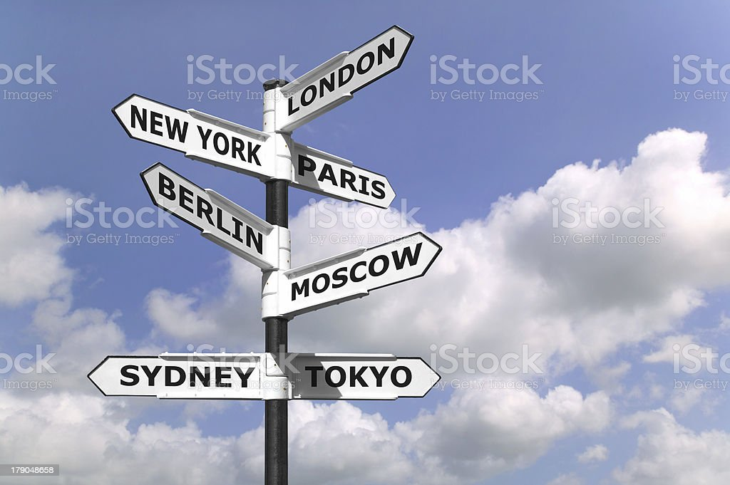 Business Capitals signpost stock photo